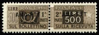 Lot 2349:1943 500L Deep Brown fresh MUH complete pair SG #P43, Cat £130.