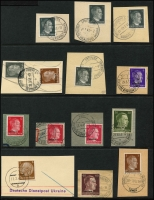 Lot 2340 [2 of 2]:Official Postmarks on small piece majority Hindenburg 3pf or overprinted Hitler lower values cancelled mostly 'KAMEN-KASCHIRSK/12.5.42.-11/c/DEUTSCHE DIENSTPOST UKRAINE' or similar. All different. Highly specialised. (28)