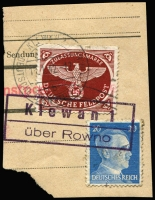 Lot 2340 [1 of 2]:Official Postmarks on small piece majority Hindenburg 3pf or overprinted Hitler lower values cancelled mostly 'KAMEN-KASCHIRSK/12.5.42.-11/c/DEUTSCHE DIENSTPOST UKRAINE' or similar. All different. Highly specialised. (28)
