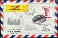 Lot 1503:1960 Maribor Rocket Cover (Sep 18), five clean covers with numbered label in red and black on yellow, various pictorial and other markings, three to Graz (Austria) one taxed. Very colourful, stated to cat (in 1996) $200 each.