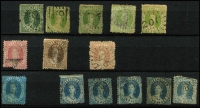 Lot 306 [2 of 12]:Collection in large stockbook noted NSW early imperfs, red 'OS' on 3d Diadem, QV 10/- Postage CTO, 20/- Carrington used, Postage Dues values to 20/- CTO, useful Victoria Imperfs range of later issues to 5/-, Tasmania Imperf Couriers both cut to shape, range of later issues, WA incl 1d black, SA few imperfs and later issues, Queensland few Chalons and later QV to 10/-, etc condition mixed viewing will reward. (100s)