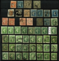 Lot 306 [1 of 12]:Collection in large stockbook noted NSW early imperfs, red 'OS' on 3d Diadem, QV 10/- Postage CTO, 20/- Carrington used, Postage Dues values to 20/- CTO, useful Victoria Imperfs range of later issues to 5/-, Tasmania Imperf Couriers both cut to shape, range of later issues, WA incl 1d black, SA few imperfs and later issues, Queensland few Chalons and later QV to 10/-, etc condition mixed viewing will reward. (100s)