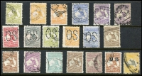 Lot 1274 [2 of 4]:Australia useful range on Hagners incl Kangaroos 1st wmk 6d & 9d, perf large 'OS' 3d, 4d & 6d, 2nd wmk 9d perf 'OS' and 2/- Parcel cancel, 3rd wmk odds to 5/- used, KGV mint range incl Single wmk 3d (MUH), SM wmk P13½x12½ 4½d (MUH), CofA 1/4d (MLH), KGV 'OS' ovpts 4d and 5d (MLH). Commems incl 1/- Anzac, 1/- Vic Cent (MLH), 'OS' ovpts 6d Kingsford Smith & 1/- Lyrebird both mint, etc. Pickings here. (59)