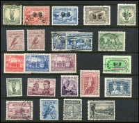 Lot 1274 [3 of 4]:Australia useful range on Hagners incl Kangaroos 1st wmk 6d & 9d, perf large 'OS' 3d, 4d & 6d, 2nd wmk 9d perf 'OS' and 2/- Parcel cancel, 3rd wmk odds to 5/- used, KGV mint range incl Single wmk 3d (MUH), SM wmk P13½x12½ 4½d (MUH), CofA 1/4d (MLH), KGV 'OS' ovpts 4d and 5d (MLH). Commems incl 1/- Anzac, 1/- Vic Cent (MLH), 'OS' ovpts 6d Kingsford Smith & 1/- Lyrebird both mint, etc. Pickings here. (59)
