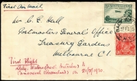 Lot 869 [1 of 2]:1930 Daly Waters - Camooweal cover addressed to C Hall, Postmaster General's Office, Melbourne with adhesives tied by Daly Waters cds 21 FE 30 and backstamped 'C'WLTH OFFICES/26FE30/VIC' fine cover, AAMC #152a.