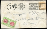 Lot 699:1934 (Sep 22) attempted devious use of Victoria 2d Stamp Duty tied to reduced front, reinforced (new back), Melbourne use, spotted by the eagle-eyed GPO who hand-stamped oval 'T4D', pair 2d p/dues affixed (one damaged) and pen-cancelled. Iffy condition, scarce.