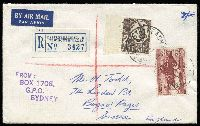 Lot 385 [1 of 5]:1960-65 Usages on Cover to mostly European destinations usually Germany (also GB, Denmark, Austria) franked 2/3d solo or multiple lower vals (eg 3x 9d Kangaroo, and 9d Magpie) or up-rated (eg double rate or for registration). Better items include 1963 registered to England with 5/- Cattle and 2/- Croc, 1960 PPC to Germany with 1/6d Christmas Bells solo (rare), 1962 to Sarawak with 1/- Colombo Plan solo, two to Gilbert & Ellice philatelically inspired, etc. Mainly fine, inspection suggested. (23)