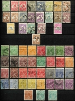 Lot 259 [1 of 5]:Pre-decimal collection with range of Kangaroos noted 5/- CofA CTO, 10/- 3rd wmk perf OS CTO, range of KGV issues incl S/Mult 4½d Die II CTO, 1/4d CofA CTO, 6d Engraved Kooka CTO, Kingsford Smith 'OS' set CTO, 5/- Bridge CTO, plus good range of AAT issues nice lot. (100s)