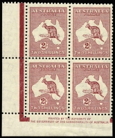 Lot 158:2/- Maroon Redrawn Die By Authority gutter block of four (25mm) BW #41zd. Light lower selvedge bend, fresh MUH, Cat $300`.