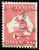 Lot 20 [1 of 2]:1d Red Die IIA group of ten varieties from Plate 4(G) (H) &(K) incl Retouch to T and frame over STRAL, Break in right frame opposite top of Tasmania, White scratches through words of value, Vertical scratch adjoining Cape York etc, Cat $655, nice group. (10)