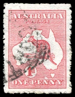 Lot 18:1d Red Die II variety Extra Island (two Tasmanias) [EL25], BW #3(E)d, fluffy perfs, nice example of variety, Cat $400.