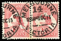 Lot 19:1d Red Die II pair both with variety White flaw over N of ONE (substituted cliché) [FL19-20], BW #3(F)e,f, Cat $200 as singles, rare as pair.
