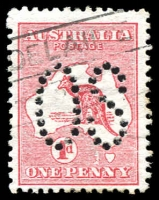 Lot 15:1d Red Die I with variety 1 flaw west of Tasmania Second state BW #2ba(B)fa, Cat $150 for normal variety, nice example.
