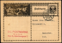 Lot 1110 [3 of 4]:1914-46 Collection: almost all Postal Cards, some unused but majority used 1920s and 1930s with many uprated and many bearing commercial cachets. Some musical flavours, some foreign destinations incl Germany, Switzerland. Extras incl an unused 15kr Pneumatic Post letter card (1870s), two foldout promotional sheets for 1927 Festwochen, three post-WWII with optd Hitler values. Mainly fine. (c55)