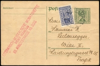 Lot 1110 [1 of 4]:1914-46 Collection: almost all Postal Cards, some unused but majority used 1920s and 1930s with many uprated and many bearing commercial cachets. Some musical flavours, some foreign destinations incl Germany, Switzerland. Extras incl an unused 15kr Pneumatic Post letter card (1870s), two foldout promotional sheets for 1927 Festwochen, three post-WWII with optd Hitler values. Mainly fine. (c55)