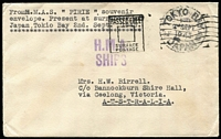 Lot 571 [1 of 2]:1945 pair of covers from Tokyo Bay surrender of Japan, both from a seaman aboard the HMAS Pirie, nice pair. (2)
