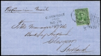Lot 1299:1868 outer to Scotland with 12½c QV deep yellow-green tied by Toronto canc 'NOV15/1868' with fine Glasgow Packet Paid 'NOV28/1868' handstamp, comes with photo copy of Holcombe opinion of geniuneness.