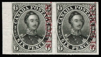 Lot 1353:1851-64 6d Prince Albert plate proof in black with vertical opt 'SPECIMEN' in carmine, Unitrade #2TCix. A very fine full-margined pair, cat Can$600+.
