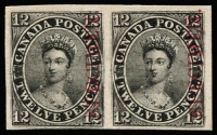 Lot 1354:1851-64 12d young QV plate proof in black with vertical opt 'SPECIMEN' in carmine, Unitrade #3Pi. A very fine full-margined horizontal pair, still on original backing card stock, cat Can$5,000+.