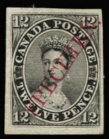 Lot 1355:1851-64 12d young QV plate proof in black with diagonal opt 'SPECIMEN' in carmine, Unitrade #3Pii. Very fine 4 margins, cat Can$4,500.