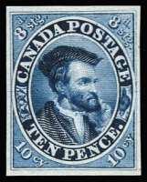 Lot 1359:1854 10d Jacques Cartier plate proof in blue, Unitrade #7P. A very fine to superb example, cat Can$300.