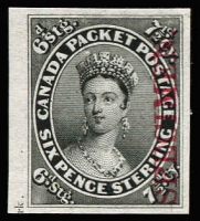 Lot 1357:1857-64 7½d young QV plate proof in black with vertical opt 'SPECIMEN' in carmine, Unitrade #7TCi. A close to superb left marginal example, cat Can$500.
