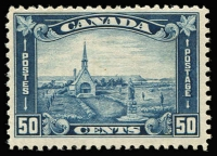 Lot 1352 [2 of 4]:1927-30 Selected Better Values 1927 12c Confederation SG #270, 1929 Bluenose SG #284, 1930 50c Memorial Church and $1 Mt Edith Cavell SG #302-03. Single hinge traces, very fresh. Cat £400+. (4)