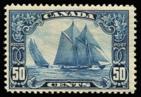 Lot 1352 [3 of 4]:1927-30 Selected Better Values 1927 12c Confederation SG #270, 1929 Bluenose SG #284, 1930 50c Memorial Church and $1 Mt Edith Cavell SG #302-03. Single hinge traces, very fresh. Cat £400+. (4)