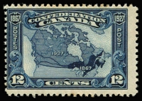 Lot 1352 [4 of 4]:1927-30 Selected Better Values 1927 12c Confederation SG #270, 1929 Bluenose SG #284, 1930 50c Memorial Church and $1 Mt Edith Cavell SG #302-03. Single hinge traces, very fresh. Cat £400+. (4)