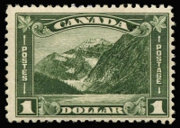 Lot 1352 [1 of 4]:1927-30 Selected Better Values 1927 12c Confederation SG #270, 1929 Bluenose SG #284, 1930 50c Memorial Church and $1 Mt Edith Cavell SG #302-03. Single hinge traces, very fresh. Cat £400+. (4)