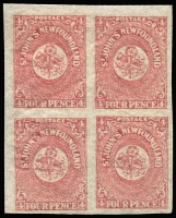 Lot 1346 [2 of 2]:1864 4d Rose-Lake SG #18, fresh four margins block of 4 with light storage-related bend, single hinge trace one unit. Plus a fine 4-margin single MLH. Min Cat £250+ (as five singles).