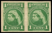 Lot 1347:1898 1c Green QV Plate Proof (yellowish-green shade as SG #85), an imperforate horiz pair on wove white paper (ie NOT India paper), ungummed, unwatermarked.