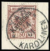 Lot 1376:1899 Overprints on Germany 50pf Mi #6,I, tied to small piece by 'YAP/3'4/01/KAROLINEN' cds and identifying expert handstamp Dr. Lantelme, Cat €1,800. Very fine.