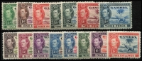 Lot 1041 [2 of 2]:Gambia 1938-46 KGVI Defins set SG #150-61, Cat £170. (16)