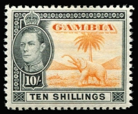 Lot 1041 [1 of 2]:Gambia 1938-46 KGVI Defins set SG #150-61, Cat £170. (16)