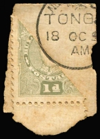 Lot 75 [2 of 3]:Tonga 1895 1d Bisect three examples tied to piece, one with complete Nukualofa cds 18OC95, some toning SG #32a. (3)