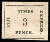 Lot 1134:1870-71 Fiji Times Express Thin Ribbed Paper 3d black/rose, SG #6, expert's handstamp on reverse faintly shows on the front, Cat £1800. A very scarce stamp ex Patterson.