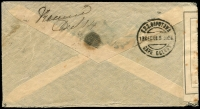 Lot 1676 [2 of 2]:1901 (Nov 22) env (some stains) with 1d lilac (16 dots) SG #172 tied 'RICHMOND/5PM/NO22/01/SURREY' cds, to Cape Town with lightly foxed 'OPEN UNDER MARTIAL LAW' reseal label tied 'PASSED PRESS CENSOR/CAPE TOWN' handstamp in violet initialled and dated '14/12/01' alongside d/ring 'G.P.O. CAPETOWN/13DEC01.5 30PM/CAPE COLONY', another on the back with mss Received Dec 14. Inbounds not common.
