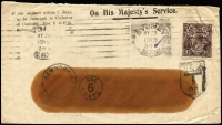 Lot 602 [1 of 2]:1919 (May 29) OHMS window faced cover sent to USA with KGV 1½d black brown perf 'OS' tied by Sydney cancel and taxed in USA with 'Due 6 cents' handstamp & pair of USA 3c Postage Dues affixed to reverse. Nice cover.