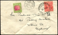 Lot 609 [1 of 2]:1933 cover to Sydney with 2d KGV tied by TPO 1 West cds 4JY33 with fine 'LATE FEE/1D/TO PAY' handstamp at left with 1d Postage Due pen cancelled at left few minor faults.