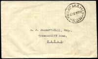Lot 847:1934 (Nov 2) local stampless cover addressed to famous philatelist AF Bassett-Hull, cancelled with 'PAID AT MANLY/1D-2 NO34/N.S.W.'; (A1). Odd small spot, inwards mail to Bassett-Hull seems to be quite rare.