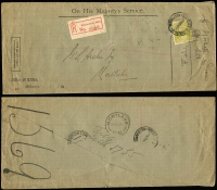 Lot 329 [3 of 5]:4d Olive group on cover incl Registered OHMS covers with perf 'OS' examples (4) and 1927 Registered usage on Pass Book Only cover, some faults, useful group. (5)