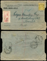 Lot 329 [1 of 5]:4d Olive group on cover incl Registered OHMS covers with perf 'OS' examples (4) and 1927 Registered usage on Pass Book Only cover, some faults, useful group. (5)