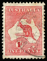 Lot 4 [1 of 2]:1d Red Die II with Extra Island (two Tasmanias), BW #3(E)d, Cat $400.