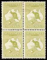 Lot 11:3d Olive Die I fresh block of 4, BW #12A, with lower right unit MUH, Cat $1,350.