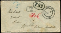 "Lot 1476:1908 (Oct 7) stampless cover (mild tone spots) from Innsbruck to Miss Howitt, Eastwood, Lucknow, Gippsland, Victoria, Australia (a local pioneer family). Multiple tax markings on face with boxed 'T.', 'T5D'-in-oval, mss ""50cts"" in red and mss ""d5"" in blue, rare double-circle English Mail TPO IN on reverse."