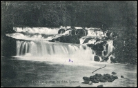 Lot 1341 [2 of 2]:1916 usage of ½d on 5pf tied to PPC of 'Sanagaarmes Waterfall Cameroon' by Duala cds 7.1.16 with Passed by Censor Lome (Togo) cachet in violet at left and Lome Togo 22.1.16 arrival cds. Rare usage