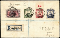 Lot 1342 [1 of 2]:1919 Blatter registered envelope to Switzerland with ½d on 5p, 1d on 10pf, 2d on 20p & 15c Cameroun French Occupation all tied by Buea cds 23 4/19 with Buea registration label at left and backstamped Bern 10VI19. Few minor tones.