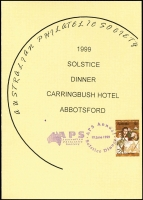 Lot 119 [2 of 2]:Australia: Collectors remainders incl range of old Share certificates, receipts, old passports plus duplicate Dinner menus and three Postal History Society Dinner Special hand cancels. (100+)