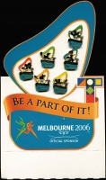 Lot 1040:Australia: 2006 Melbourne Commonwealth Games set of six Tabaret Official Sponsor pins on Presentation card (11 sets) resellers opportunity.